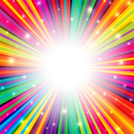 Illustration for Colorful Rays Psychedelic Background with Space for Your Text in Center - Royalty Free Image