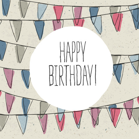 Illustration for Happy Birthday Lettering On Holidays Pennant Bunting - Royalty Free Image