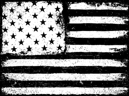 Illustration pour Stars and stripes. Monochrome Negative Photocopy American Flag Background. Grunge Aged VectorTemplate. Horizontal orientation. - image libre de droit