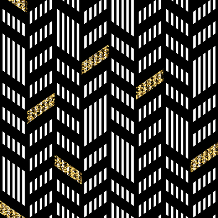 Illustration for Seamless Chevron Pattern. With Glittering Gold and thin lines - Royalty Free Image