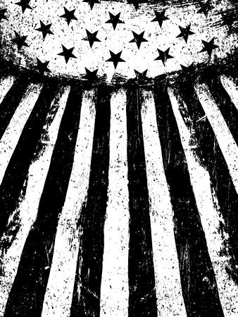 Illustration pour Monochrome Negative Photocopy American Flag Background. Grunge Aged Vector Template. Vertical orientation. - image libre de droit