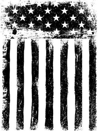 Illustration pour Stars and Stripes. Monochrome Photocopy American Flag Background. Grunge Aged Vector Template. Vertical orientation. - image libre de droit
