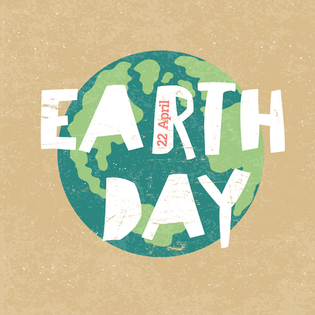 Illustration for Earth Day Illustration. Earth day, 22 April. Paper cut letters - Royalty Free Image