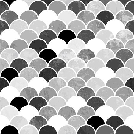 Illustration pour Fish scales monochrome Seamless Pattern - image libre de droit