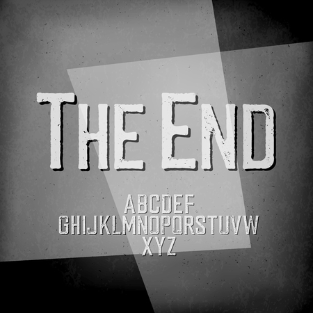 End Credits. Film noir styled abstract screen. The End Title Vector Background.Old cinema background