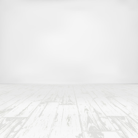 Illustration for Empty white room with wooden floor - Royalty Free Image