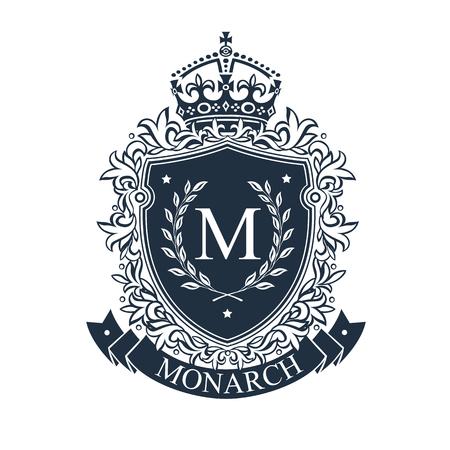 Ilustración de Coat of arms. Heraldic royal emblem shield with crown and laurel wreath. Heraldic vector template. - Imagen libre de derechos