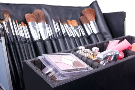 Professional make-up case full of make-up tools, closed-up