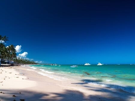 Photo for Caribbean destinations with boats in tropical sea, vacations - Royalty Free Image