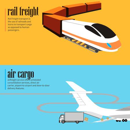Horizontal flyers  Logistic concept flat banners set of rail