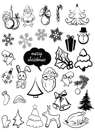 New Year s, Christmas elements, santa, a deer, a sugar candy, caramel, a sweet, a fir-tree, a snowflake, etc