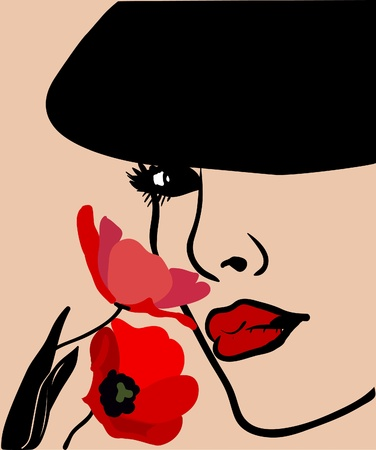 Background with a woman s face in a hat and flowers