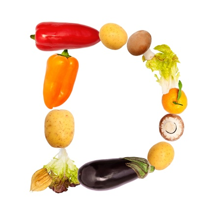 The letter d, builded with various fruits and vegetables, complete font available