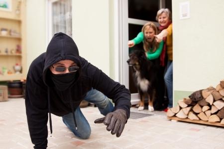 Burglars trys to flee from the crime scene