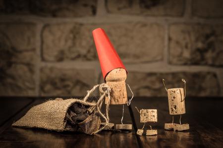 Concept Santa and children with wine cork figures