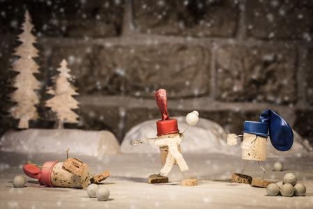 Concept Fun in the Snwo, wine cork figures