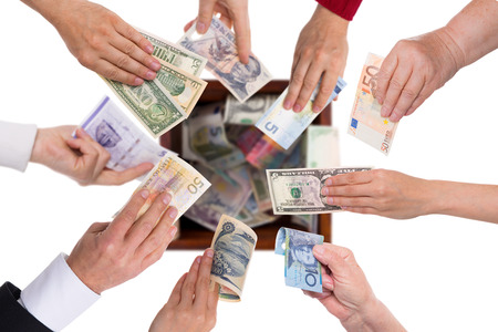 different currencies concept crowdfunding or global financing