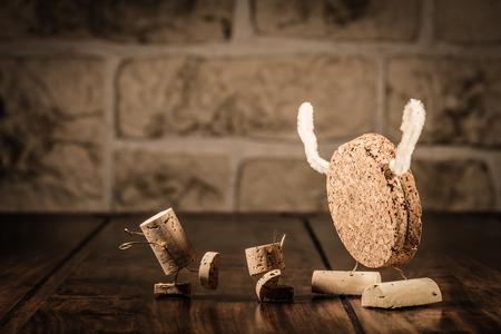Concept Children and Monster, wine cork figures