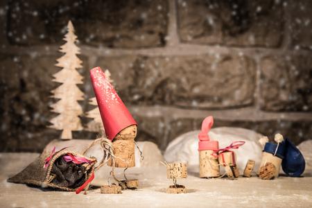 Concept santa claus and Children, wine cork figures