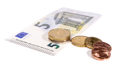 Photo for New minimum wage in Germany, 8,84 Euro hourly salary, currency on white background - Royalty Free Image