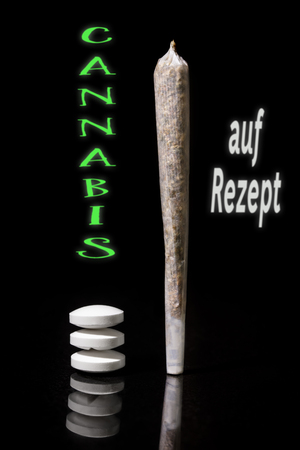 Cannabis jolly and pills, new law in germany, german text Cannabis auf Rezept, which means cannabis with a recipe