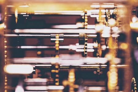 Mechanicals and Technology of a analogous clockwork, closeup
