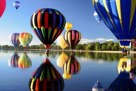 Hot Air Ballooning Lake Reflection
