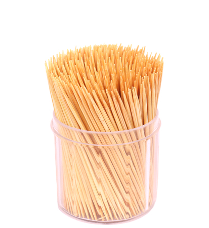 Wooden toothpicks isolate on white background