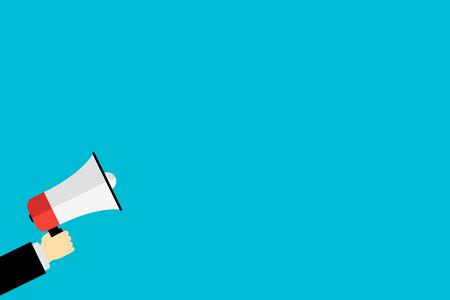 Illustration pour hand holding a megaphone icon for market announcement flat - image libre de droit