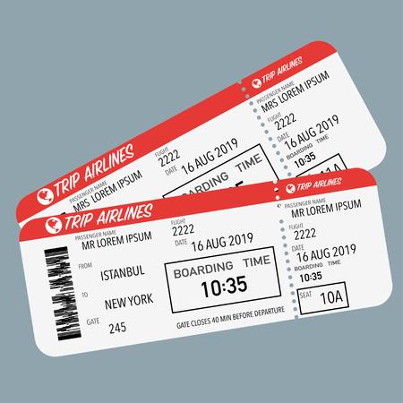 Illustration for flight ticket for passenger plane boarding red white - Royalty Free Image