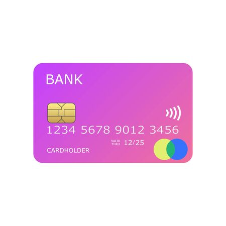 Illustration for colorful pinky mock up credit card vector illustration - Royalty Free Image