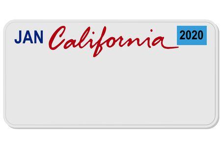Illustration for california new car digital registration plate vector illustration - Royalty Free Image