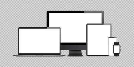 Illustration pour laptop, computer, tablet, mobile, watch mockup isolated blank screen vector set. white monitor touchscreen gadget technology equipment. phone, smartphone, smartwatch  background - image libre de droit