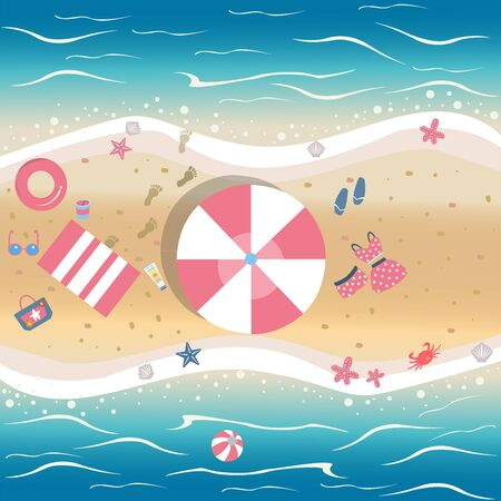 Illustration pour Summer Vector Illustration. Seashore with summer beach objects. From Summer Collection. Background template. For cards, postcards, posters, banners, etc. - image libre de droit