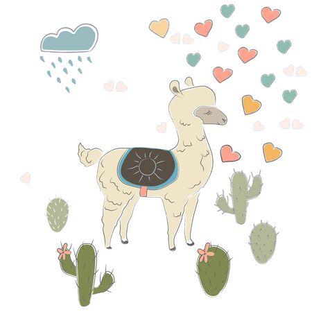 Illustration pour Cute Alpaca. Vector Illustration - image libre de droit