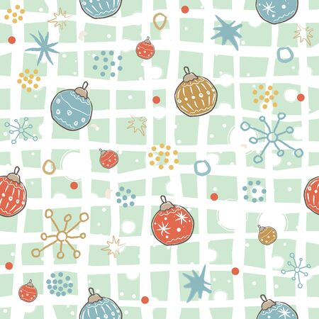 Illustration pour Cute Winter Pattern with festive ornaments and snowflakes. Merry Christmas Collection. Vector Illustration - image libre de droit