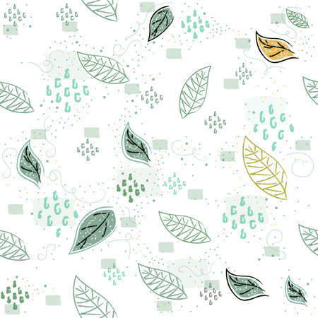 Illustration pour Seamless Pattern with Flying leaves. Scandinavian Style. Vector Illustration - image libre de droit