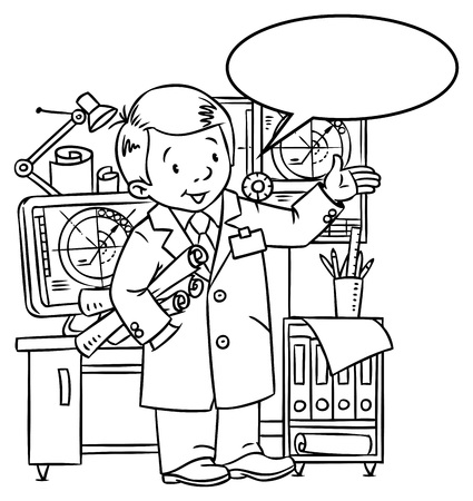 Coloring picture of funny engineer or inventor  A man in coat with