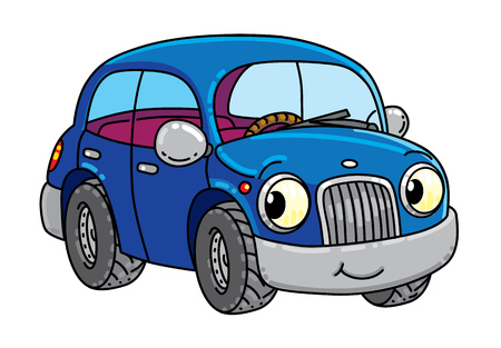 Illustration pour Funny small car with eyes. - image libre de droit