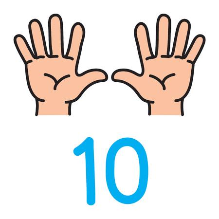 Illustration pour Kids hand showing the number ten hand sign. - image libre de droit
