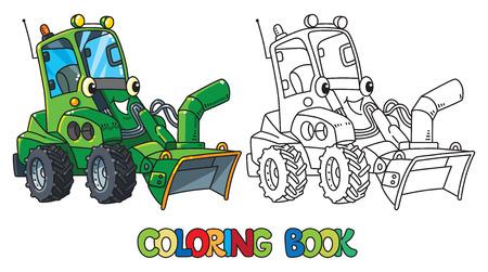 Illustration pour Funny snowthrower car with eyes. Coloring book - image libre de droit
