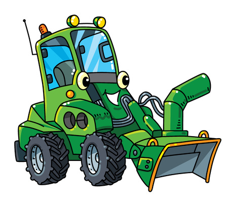Illustration pour Snowthrower. Small funny vector cute car with eyes and mouth. Children vector illustration. Municipal machinery for kids - image libre de droit