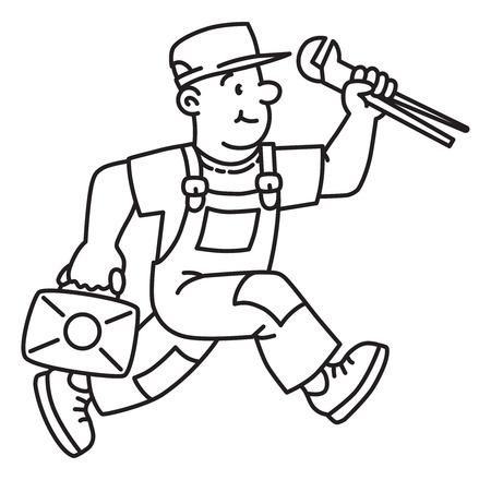 Illustration for Plumber or repairman with the tools is running - Royalty Free Image
