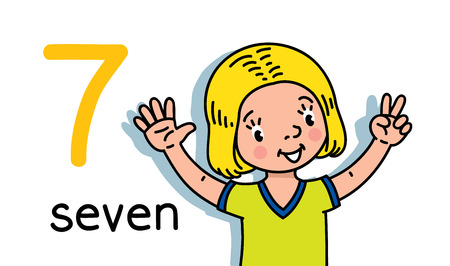 Illustration pour Card 7. Girl in t-shirt. Kid s hands showing the number seven hand sign. Childrens vector illustration for counting education cards from 1 to 10. - image libre de droit