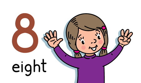 Illustration pour Card 8. Girl in sweater. Kid s hands showing the number eight hand sign. Childrens vector illustration for counting education cards from 1 to 10. - image libre de droit
