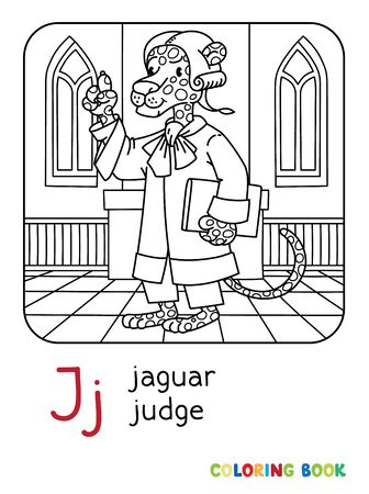 Jaguar Judge Abc Coloring Book Alphabet J Royalty Free Vector Graphics