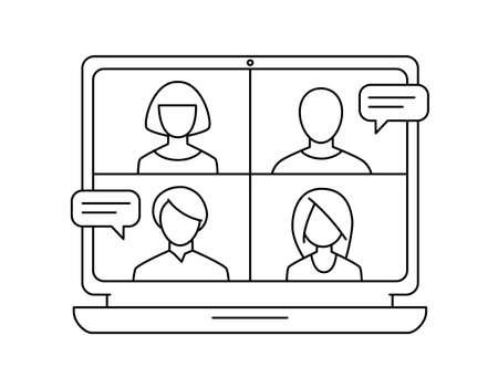 Illustration pour Conference video call meeting monochrome vector icon - image libre de droit
