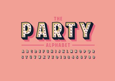 Illustration pour Vector of modern party font and alphabet - image libre de droit