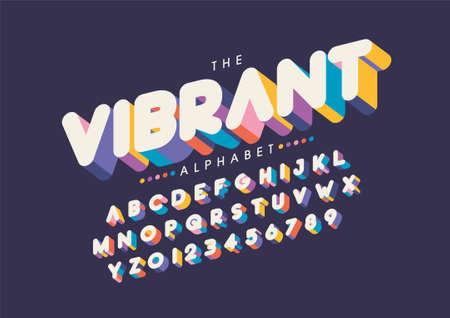 Illustration pour Vector of stylized vibrant font and alphabet - image libre de droit