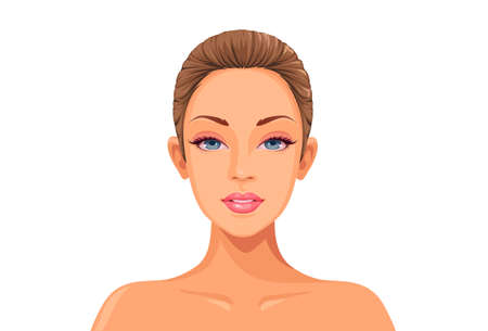 Illustration for Beautiful women face ready for makeup game art vector - Royalty Free Image